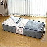kaarifirefly Reißverschluss Kleidung Bettwäsche Kleidung Kissen unter Bett Griff Aufbewahrung Organizer Aufbewahrungstasche grau