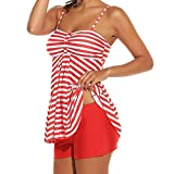 WWricotta Women Beach Striped Print Tankini 2PCS Bathing Surfing Swimwear Suit Plus Size(rot,XXXXL)