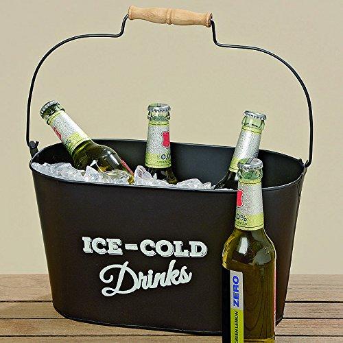 Home Collection Enfriador de Botellas de Metal para Cervezas Champan Cava ICE-COLD Drinks Negro 34 cm