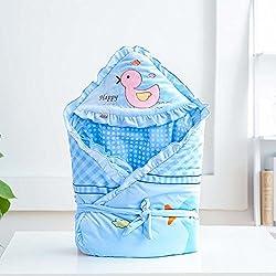 HONGREN Nuevo Edredón De Bebé Terciopelo Bebé Es Otoño Terciopelo Edredón De Bebé Recién Nacido Es Impresión De Dibujos Animados Edredón Grueso,Blue