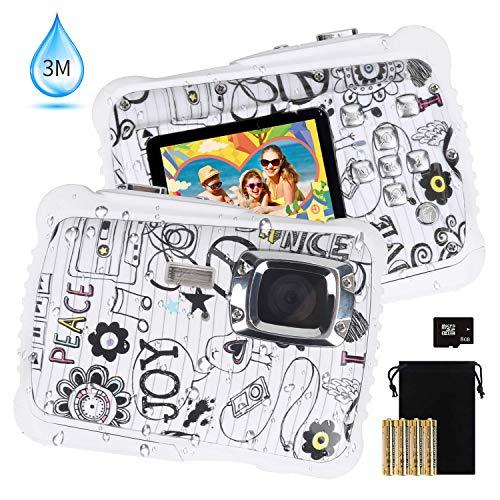 Kinder-Kamera Digital-Unterwasserkamera für Jungen und Mädchen 12 MP HD-Action-Sport-Camcorder mit 2,0-Zoll-LCD, 8-fachem Digitalzoom, Blitz, Mikrofon und 8 G SD-Karte.