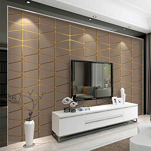 3D Tapete moderne minimalistische geometrische Figur Hirschleder Vliestapete Schlafzimmer Relief geprägte Hintergrund Wand Kaufen Sie drei Get One Free ( Color : Khaki )