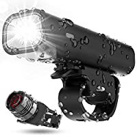 نسخة محدثة لضوء الدراجة ، USB قابلة لإعادة الشحن ضد الماء وقت التشغيل 8 ساعات 400 لومن مصباح أمامي فائق السطوع ومصباح خلفي LED خلفي، 4 وضع إضاءة يناسب جميع الدراجات ، الجبال ، الطرق (أسود)