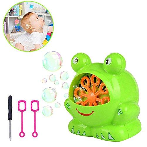 Aolvo [Kinder Geschenk Bubble Maschine, Automatische Frosch Bubble Maschine Bubble Laubbläser Bubble Maker, über 500Blasen Pro Minute mit Zwei Blase Zauberstäbe giftseasy zu Verwenden