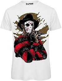 CHEMAGLIETTE! T-Shirt Divertente Uomo Maglia Cotone con Stampa Film Horror Freddy Vs Jason Tuned
