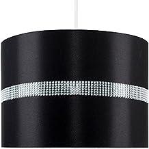 MiniSun Abat-Jour pour Suspension 'ROLLER' Design Contemporain - Tambour Finition en Tissu Noir - Aspect Soie. Décoré avec Diamante. Cordon électrique Non-Fourni