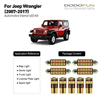 ‏‪DODOFUN Deluxe Interior LED Lighting Kit for 2007-2017 Jeep Wrangler (9-pc Bulb 6000k)‬‏