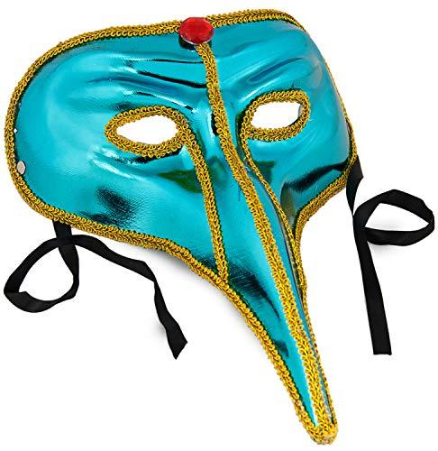 Nick and Ben Venezianische Maske für Erwachsene | Spitzen & Perlen | hochwertige Verkleidung für Karneval | Einheitsgröße |: Farbe: blau