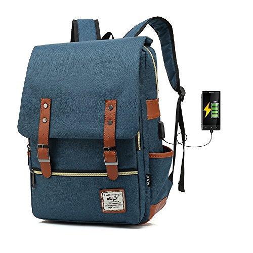 333f4fd200 J015 17inch Casual Unisex Waterproof Oxford School Backpack Rucksack (Dark  blue)