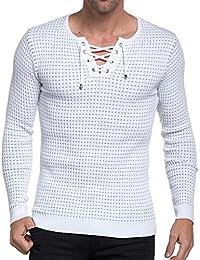 BLZ jeans - Pull homme blanc et gris côtelé moulant