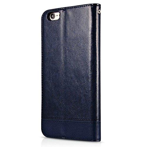 GHC Cases & Covers, Für iPhone 6 & 6s, Doppelseitige Absorption Splicing Horizontal Flip Ledertasche mit Halter & Kartensteckplätze & Lanyard ( Color : Black ) Dark blue