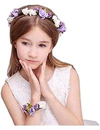 Couronne de Fleurs Mariage et Bracelet Fleur Demoiselle d'honneur Enfant Fille Femme Accessoire