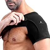 Anoopsyche Adjustable Shoulder Brace for Right and Left, Neoprene Rotator Cuff Support Compatible with Hot/Cold Pad, Dislocated AC Joint, Frozen Shoulder, Sprain, Soreness, Tendinitis