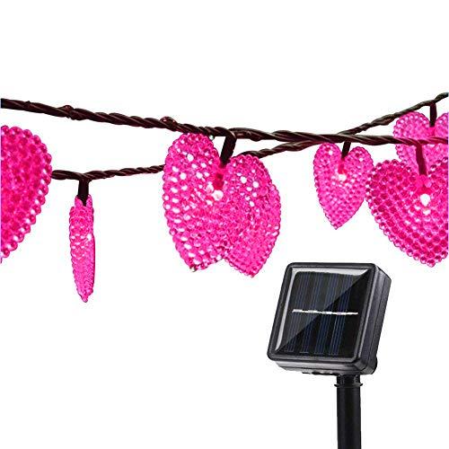 Solar Lichterkette Garten,KINGCOO 20ft 30LEDs Romantisch Liebe Herzform Wasserdicht Weihnachten Solar Sternenhimmel Schnur Lichter mit 8 Modi für Halloween Hochzeit Party(Rosa)