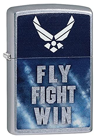 Zippo Unisex US Air Force Fly Fight Win winddicht Feuerzeug, Street Chrome, one size (Metallic One Pocket)