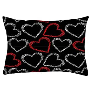 Snoogg Red And Grey Hearts Rectangle Toss Throw Pillow Cushion Cover Decoarative Pillow Case 14 x 22""
