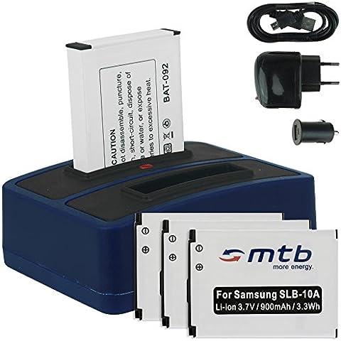 4x Baterías + Cargador doble (USB/Coche/Corriente) para Samsung SLB-10A / Toshiba Camileo X-Sports / JVC Adixxion / Silvercrest / Medion Action Cam.. v.