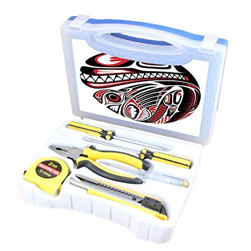 Handliches Werkzeugset Kombination Haushalt Tribal Basis DIY Handwerkzeug-Set Inklusive Schraubendreher, Zange, Maßband, Teststift, Schneidewerkzeug, Haida-Stil Tierkunst Wilder Seeadler und Mörderhun -