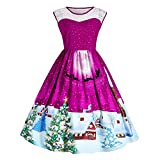 Vêtements LILICAT Les femmes de noël impriment dentelle Pin Up Swing Lace Party Panel Plus robe de taille (Hot Pink, XL)