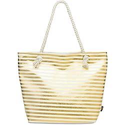 CASPAR TS1058 XL Bolso de Playa para Mujer/Bolso de Mano Shopper con Rayas Metalizados, Color dorado;Tamaño:Talla Única