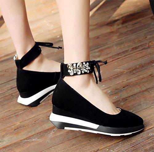 Frau Frühling Aufzugsschuhe Frauenschuhe Steigung Spitzen Diamant mit flachen Mund runde Schuhe Kopf Frauenschuhe Schuhe matte Leder Black