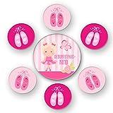 Polarkind Button grosses 7er Set Kindergeburtstag Motiv Ballerina für Mädchen 1 gr Anstecker Geburtstagskind 59mm u. 6 Kleine 38mm als Mitgebsel Deko Partygeschenk Handmade