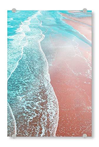 artboxONE Acrylglasbild 60x40 cm Natur Sea Blue and Rose Gold - Bild Graphic Design Paint Filter Paint Effect