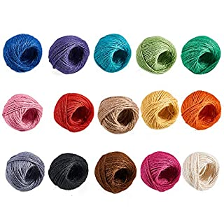 Pandahall Elite 15 Rolls 25m/roll Colorful Hemp Cord Twine String for Jewelry Making, 2mm, 15 Mixed Colors