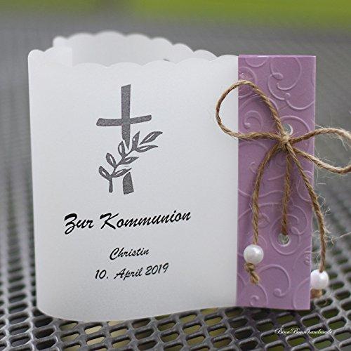 10 Lichthüllen Windlichter Tischdeko Herzform Taufe Kommunion Konfirmation flieder Handarbeit binnbonn