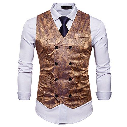 Fangcheng Mode Lässig Anzug Weste Arbeit Männer Outwear Mantel Einreiher Männer Weste Männer Blazer Weste Gold L -