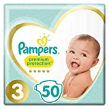 Pampers Premium Protection Taille 3, 6kg-10kg, Lot de 2 (100 couches)