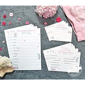 Baby-Shower Babyparty Partyspiel 30 Karten für Ratschläge gute Wünsche Rate-Spiel als Erinnerung
