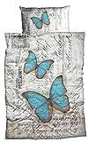sister s. Renforcé-Bettwäsche Vintage Trendiger Druck Schmetterlinge Türkis-Blau Used Look Grau mit Schrift Postcard 135x200 cm Reine Baumwolle
