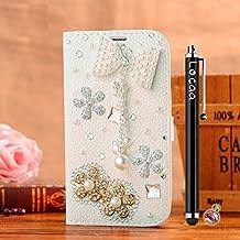 Locaa(TM) For Alcatel OneTouch Pop 3 Pop3 5.5 inch 3D Bling Case Funda Cuero Para Protector Dura Accesorios Funda Bumper Shell Caso Alta Calidad Piel Phone Cover Cas [3] Blanca - Bowknot 2