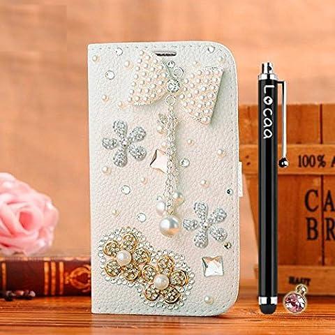 Locaa(TM) Pour Microsoft Lumia 532 Nokia Lumia532 3D Bling Case Coque Étui Love Cuir Qualité Housse Chocs Couverture Protection Cover Shell Etui For Phone Avec [Couleur 3] Bowknot 2 - Blanc