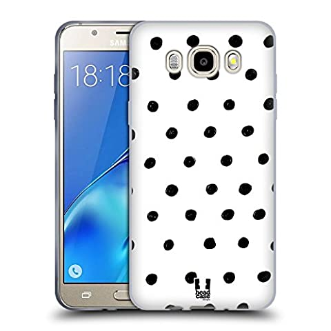 Head Case Designs Pois Griffonnage Blanc Et Noir Étui Coque en Gel molle pour Samsung Galaxy J5 (2016)