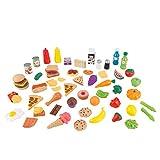 KidKraft 63510 65-teiliges Spielzeug-Lebensmittel-Set Zubehör für Kinder-Spielküchen