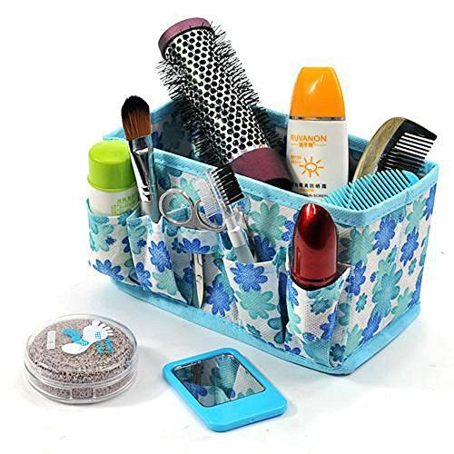 Taottao Cosmétique non-tissé Portable Maquillage Professionnel cosmétiques Cases Boîte à outils 19 * 10 * 10cm bleu