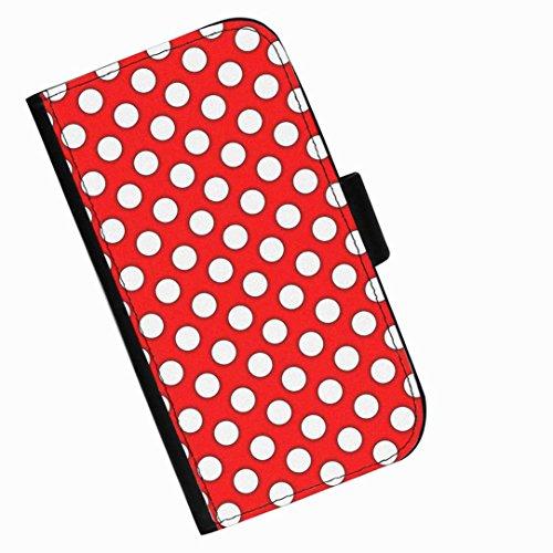 Hairyworm - Weiße Punkte auf rotem Hintergrund Blackberry 9720 Leder Klapphülle Etui Handy Tasche, Deckel mit Kartenfächern, Geldscheinfach und Magnetverschluss.