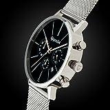 Gigandet Herren-Armbanduhr Minimalism Quarz Chronograph Uhr Datum Analog Edelstahlarmband Schwarz Silber G32-006 - 4