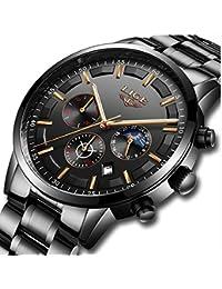 11330313625b LIGE Relojes Hombre Impermeable Deporte Cuarzo Analógico Reloj Hombre Moda  Casual Cronógrafo Negro Acero Inoxidable Reloj