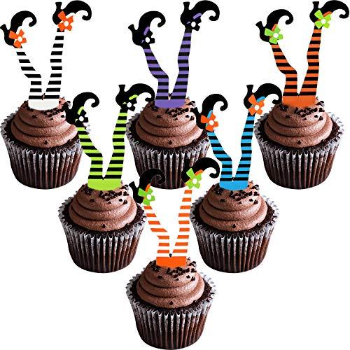 Boao 48 Stücke Halloween Cupcake Toppers Fröhliches Halloween Requisiten Hexen Stiefel Cupcake Dekorationen für Partyartikel, 6 Farben (Halloween-cupcakes Einfache Dekorationen)