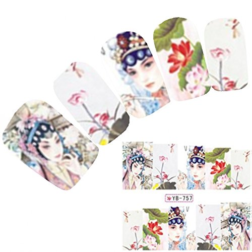 Just Fox - Tattoo Nail Art Autocollants pour le Japon Manga Geisha Water decall