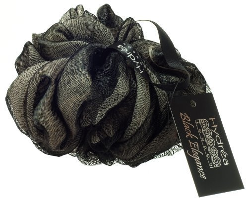 large-bath-puff-exfoliating-black-and-cream-scrunchie-with-wrist-wrap