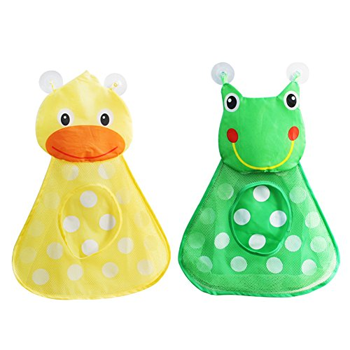 Sue Supply Bath Toy Organizer and Ultra Strong Suction Hooks, Multi use Organization and Storage Nets for Baby Bath Toys (Green)