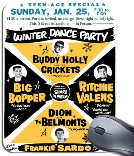 PC Buddy Holly Big Bopper Rock n Roll Poster Winter Dance Party Mauspad Mauspad mit Musikmotiv -
