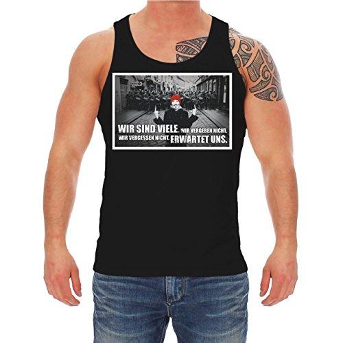 Männer und Herren Trägershirt Wenn Unrecht zu Recht wird mit Rückendruck  Schwarz