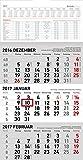3-Monatskalender klein 2017 - Wandplaner / Bürokalender (23,7 x 45) - mit Datumsschieber - mit Jahresübersicht - mit Ferienterminen