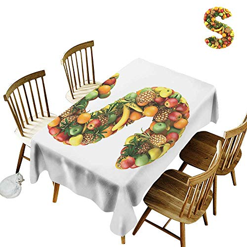 """Camping rectangular tablecloth W60"""" x L84"""" Letter S Letter S Made out of Healthy Organic Fruits Apples Pineapples Bananas Oranges Multicolor Great for traveling More"""