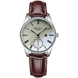 Fashion Calendar Decorative Small Dial Leather Strap Quartz Women Wrist Watch,White-Brown